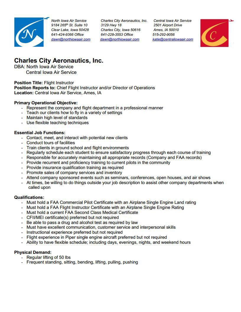 Ground School Instructor Description For Resume